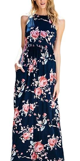 Vestidos Verano Mujer Largos Elegantes Sin Mangas Cuello Redondo Floreadas Vestidos Maxi Moda Vintage Vestido De