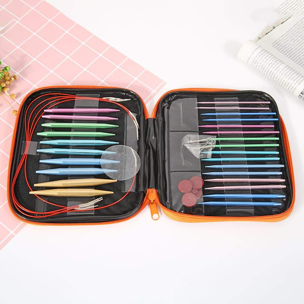 10 Pairs Aluminum Change Head Circular Knitting Needle Crochet Hooks Set