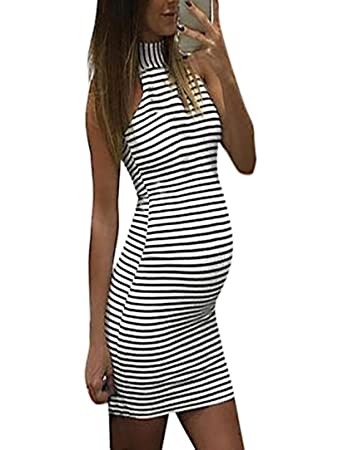 d2867461b2529 Image Unavailable. Image not available for. Color  Women s Casual Maternity  High Neck Sleeveless Stripe Print Wrap Bodycon Dresses ...