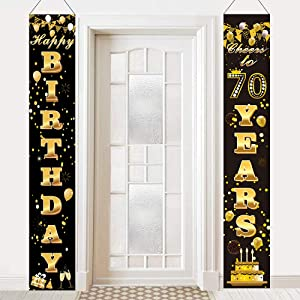 70th Birthday Door Banner,Happy 70th Birthday Banner,70th Birthday Anniversary Party Decorations Supplies Cheers to 70 Years Welcome Porch Sign for Indoor Outdoor