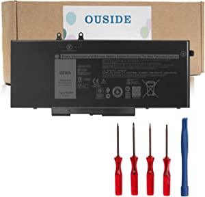 OUSIDE 4GVMP Laptop Battery Compatible with Dell Latitude E5400 5410 5500 5510 Precision 3540 3550 Inspiron 7590/7591/7791 2-in-1 Series Notebook 9JRYT 09JRYT 1V1XF R8D7N 7.6V 68Wh/8500mAh.