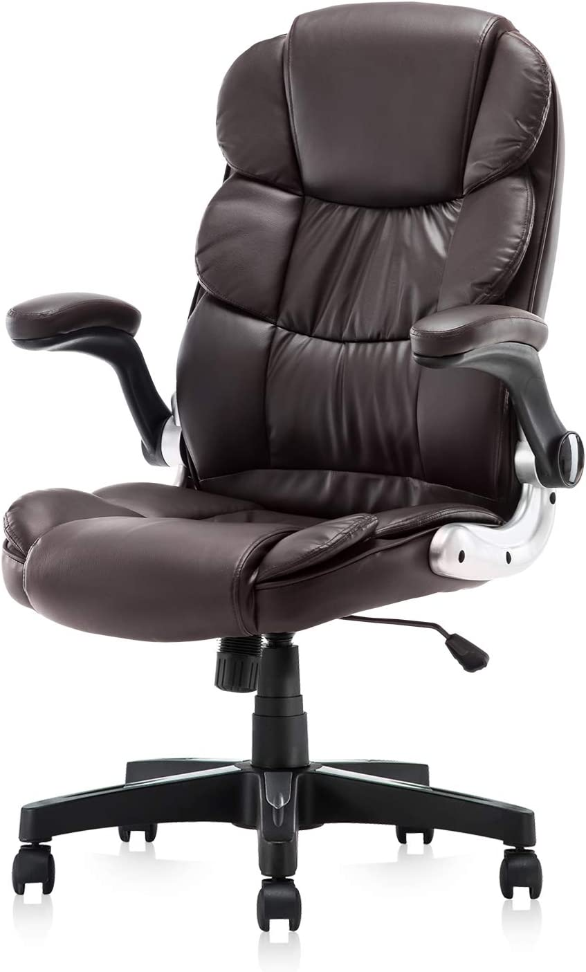KERMS High Back Office Chair PU Leather Executive Desk Chair with Padded Armrests,Adjustable Ergonomic Swivel Task Chair with Lumbar Support (BN)