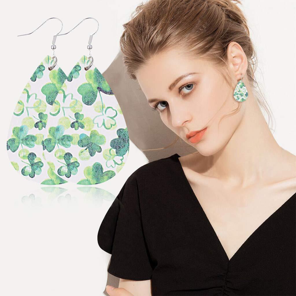 Green Drop Earrings Leather Earrings for Women Teardrop Dangle Earrings Petal Drop Earrings Jewelry Accessory Handmade Saint Patricks Day Earrings for Women Girls Gift
