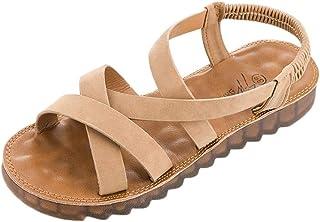 Femme Sandales,Sandales Plates romantiques à la Mode féminine Femme Enceinte Chaussures à Bout Rond,Sandales