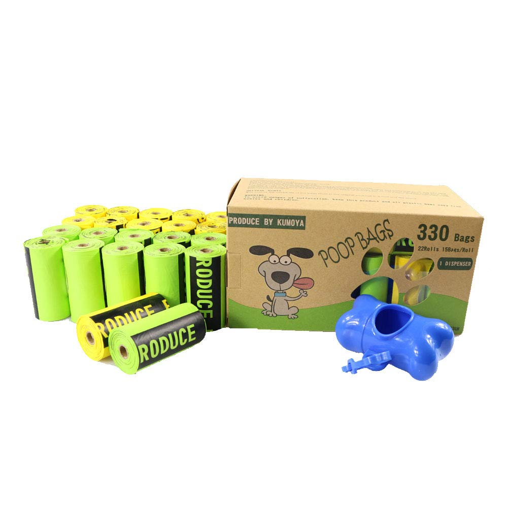 Kumoya Dog Poop Sacchetti biodegradabili in amido di Mais Dog Sacchetti di rifiuti con Dispenser –  Extra Large, Extra Spesso, a Prova di perdite Dog Poo Bags