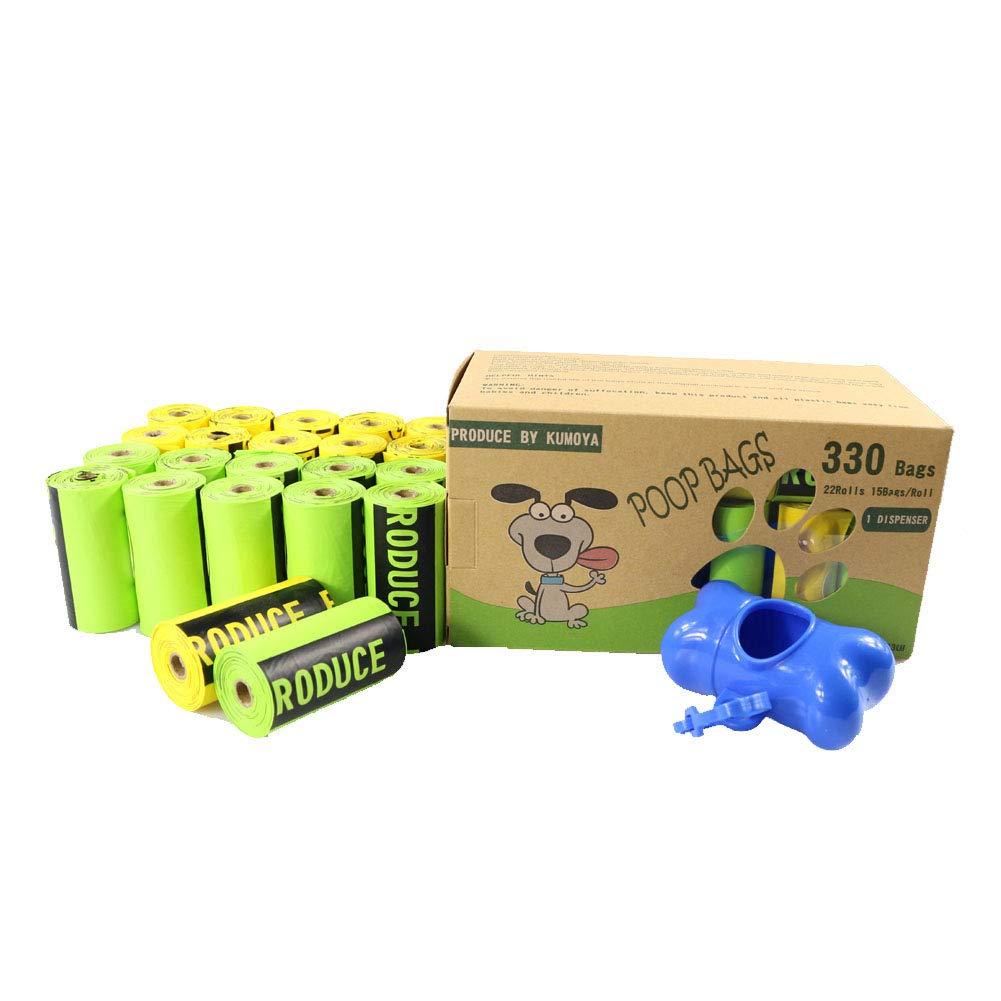 Kumoya Bolsas de basura biodegradables para perros, con dispensador y clip de plomo extragrande,