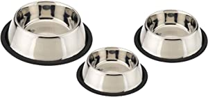 King International Stainless Steel Dog Bowls with Anti-Skid Rubber Base Set of 3- Small (16 Oz) Medium (24 Oz) Large (32 Oz)- Pet Feeding Bowl for Dogs, Puppy Cat and Kitten-Feed water wet food treats