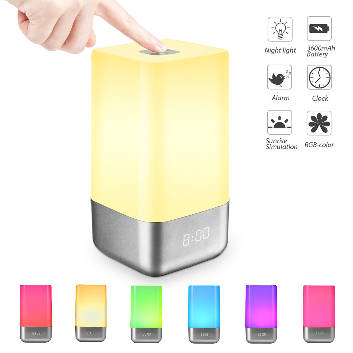 Fypo LED Despertador Lámpara RGB Luz Alarma Digital Wake Up Light Simulación