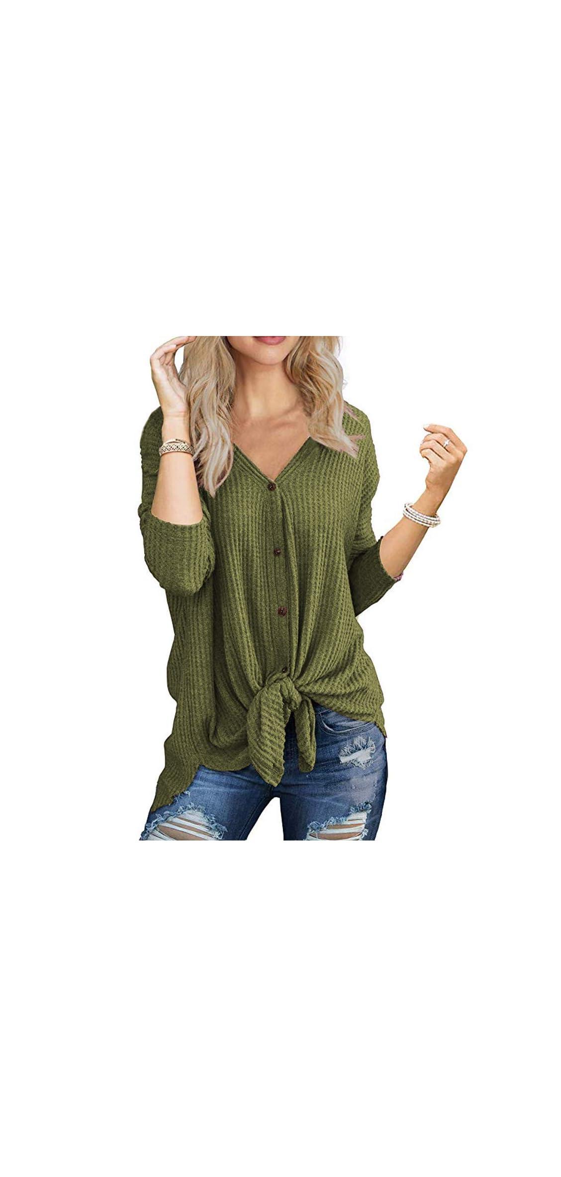 Womens Waffle Knit Tunic Blouse Long Sleeve V Neck Button
