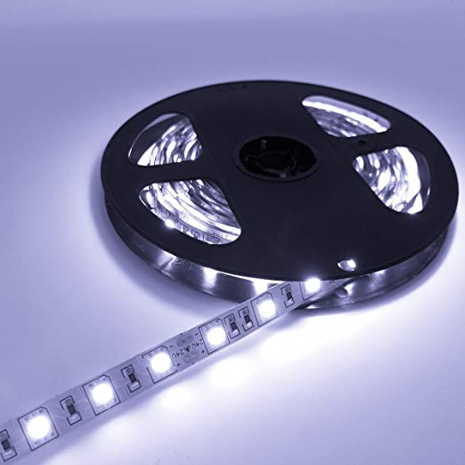 YUNBO LED Strip Lights Cool White 6000-6500K NO Waterproof 24V Flexible LED Tape Lights Cuttable 300 Units SMD 5050 LED Lighting 16.4ft/5m