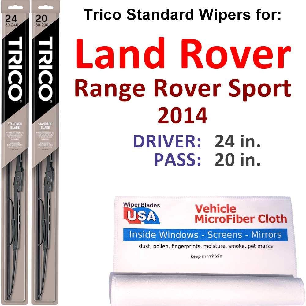 Wiper Blades Set for 2014 Land Rover Range Rover Sport Driver/Pass Trico Steel Wipers Set of 2 Bundled with MicroFiber Interior Car Cloth