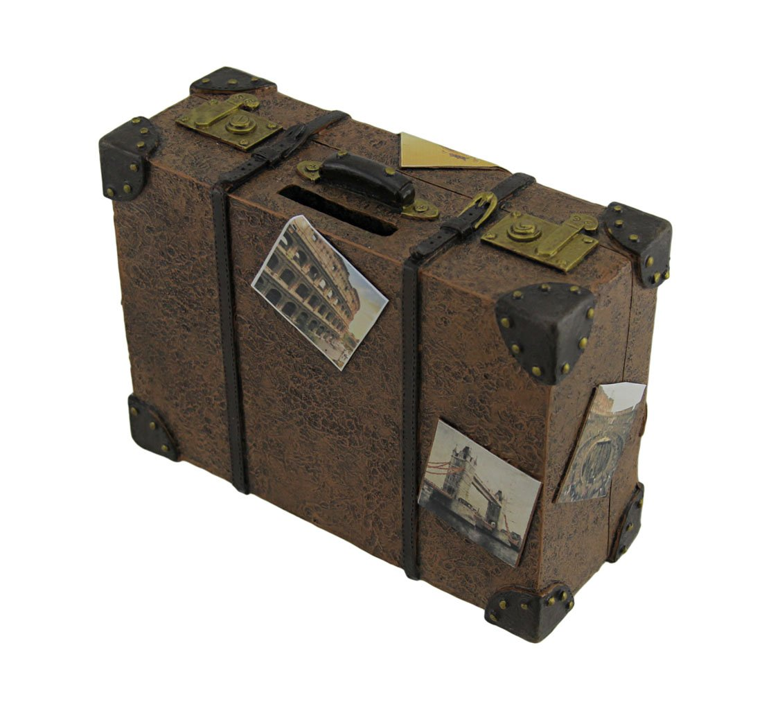 Zeckos Well Traveled Vintage Suitcase Coin Bank by Zeckos (Image #2)