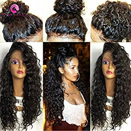 8A Brazilian 13X6 Lace Front Wigs Wet Wavy Beyonce Lace Front Human Hair Wigs Virgin Human Hair 150 density Top Lace Wigs Black Women(8 Inch,150 density,13×6 Lace Front Wig)