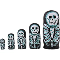 MagiDeal 5 Pieces High Quality Wood Skeleton Printed Russian Nesting Dolls Babushka Matryoshka Gift Home Display