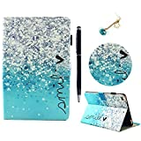 New iPad 9.7 inch 2018 2017 Case,iPad Air 2 Case,iPad Air Case Lanveni Smart-shell Stand Cover Soft Rubber Back Protector Card Slots Pencil Holder Auto Wake & Sleep ,Stylus & Dust Plug Gradient Blue