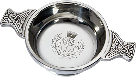 Wentworth Pewter Large Pewter Quaich Whisky Tasting Bowl Loving Cup Burns Night