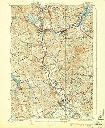 YellowMaps Penacook NH topo map, 1:62500 Scale, 15 X 15 Minute, Historical, 1927, Updated 1939, 19.8 x 16.4 in - Polypropylene ()