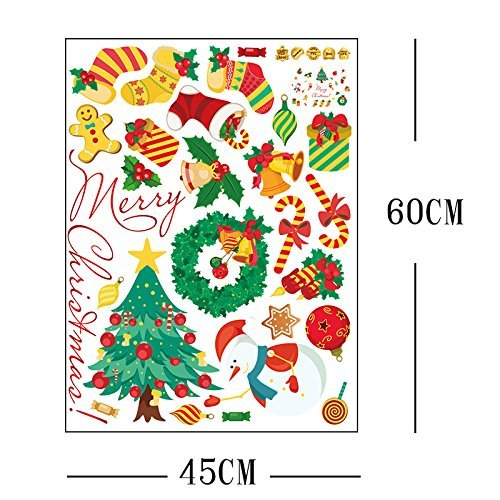 Yesfeel Christmas Wall Decals Stickers Ornaments For Living Room And Bedroom, Christmas Stockings,Santa Claus, Candy Cane, Waving Snowmen christmas wreath, Perfect Décor For Home and Shop Windows. by Yesfeel (Image #4)