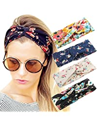 cd6da284b9e 4 Pack Women Headband Boho Floal Style Criss Cross Head Wrap Hair Band