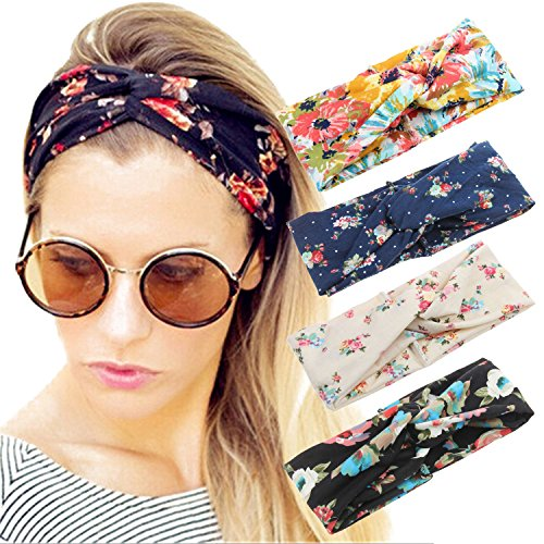 4 Pack Women Headband Boho Floal Style Criss Cross Head Wrap Hair Band Set1 ()