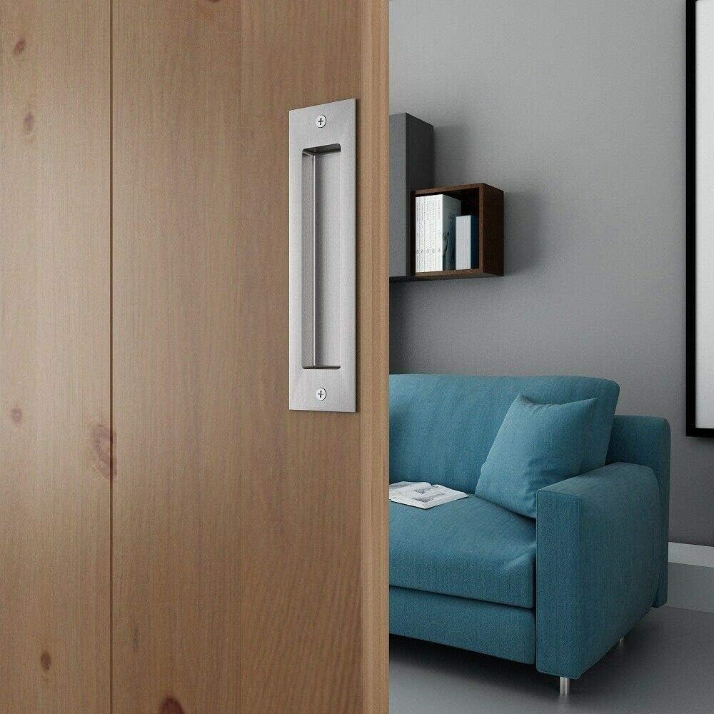 JUBEST 8in Satin Nickel Brushed Flush Pull Handle for Sliding Barn Door Hardware Set of 2