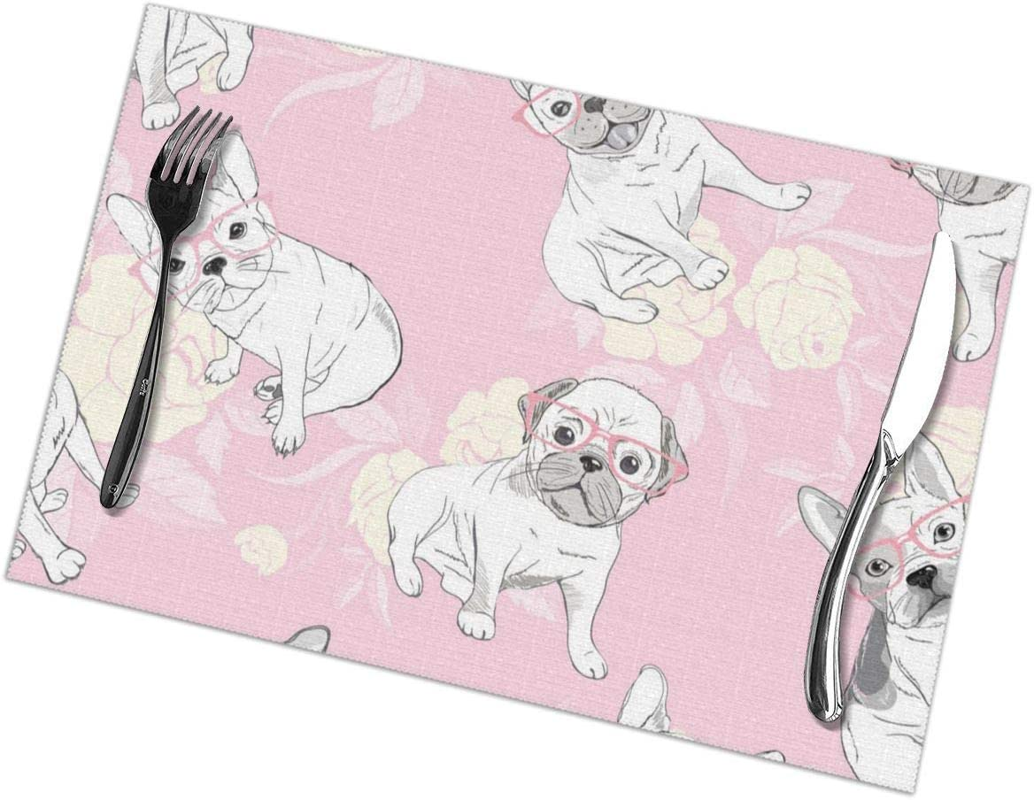 Qwessd Dog French Bulldog Heart Sunglasses Glasses Icon 626 Heat Resistant Placemats For Dinner Parties Wipe Clean 12x18 Inch Set Of 6 Home Kitchen