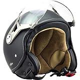 SOXON SP-325-MONO Crystal Blue · Scooter Bobber Vintage Cruiser Biker Mofa Pilot Helmet Vespa Moto Demi-Jet Chopper Retro Casque Jet · ECE certifiés · visière inclus · y compris le sac de casque · Bleu · XS (53-54cm)