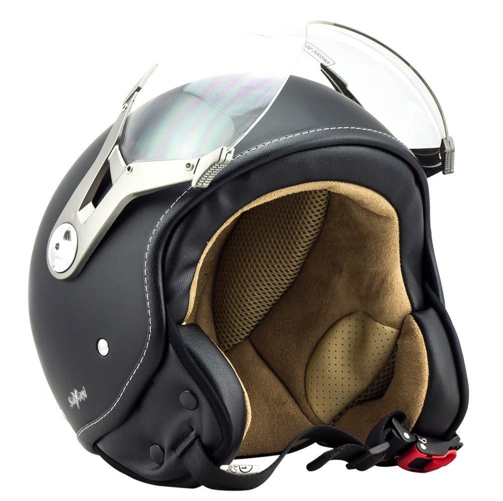 SOXON SP-325-MONO Titan /· Cruiser Chopper Bobber Pilot Helmet Demi-Jet Vintage Scooter Casque Jet Mofa Retro Biker Vespa Moto /· ECE certifi/és /· visi/ère inclus /· y compris le sac de casque /· Gris /· S