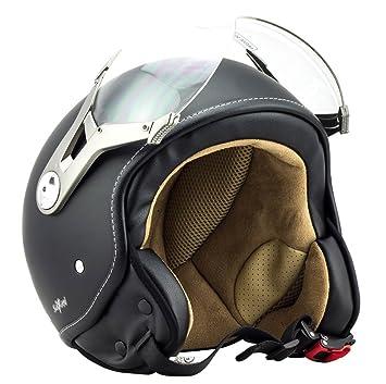 SOXON SP-325-MONO Night Casco Demi-Jet Vintage Helmet Bobber Urbano Retro