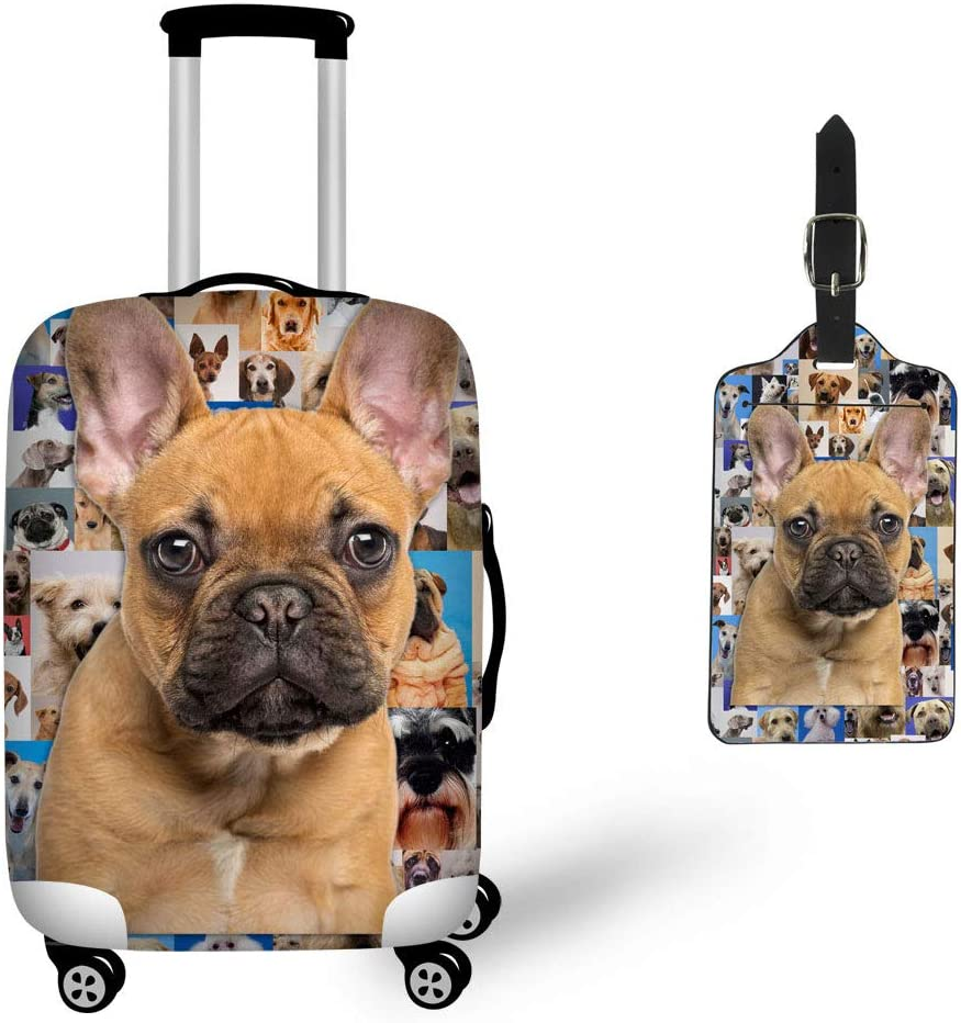Upetstory 5 Pcs Luggage Tags Pu Leather Tour Suitcase Baggage Handbag Labels Cool Animals Design