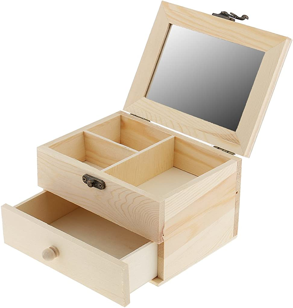 Amazon Com Loveindiy Unfinished Wood Jewelry Organizer Holder Classic Jewelry Box With Drawer Modern Closure Mirror Jewelry