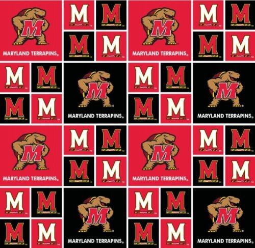 MARYLAND TERPS COTTON FABRIC-MARYLAND COTTON FABRIC SOLD BY THE YARD-NCAA COLLEGE COTTON FABRIC
