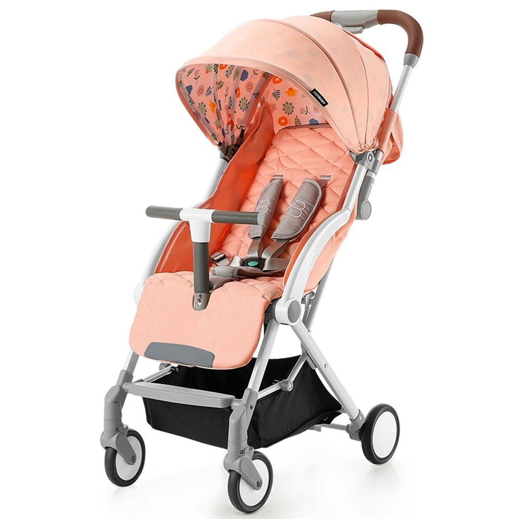 HAIZHEN マウンテンバイク 赤ちゃんプッシュUltralightは折りたたみ可能な赤ちゃんのキャリッジを寝かせることができますサンシェード日焼け防止日焼け防止EVAフォームショックアブソーバータイヤトロリー60 * 41 * 103センチメートル 新生児 B07DL7PJG6 ピンク ぴんく ピンク ぴんく