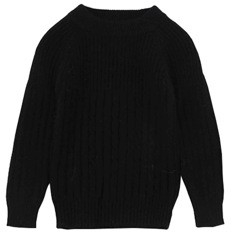 Euno Autumn and Winter Boy's round neck Natural cashmere Pullover Sweater Black B140