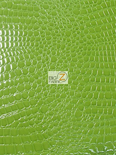 (Big Z Fabric Vinyl Faux Fake Leather Pleather Embossed Shiny Alligator Fabric by The Yard DIY Upholstery Accessories (1 Yard, Lime) )