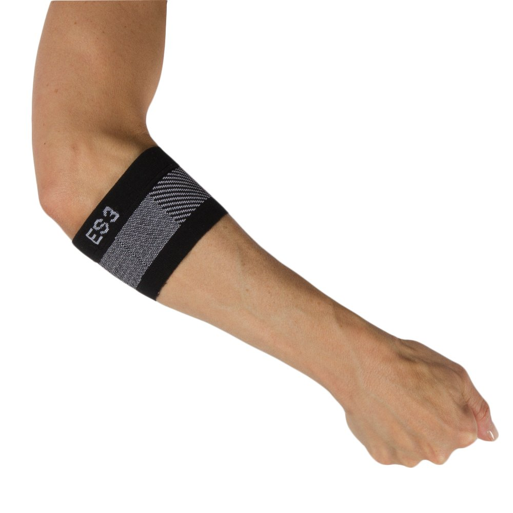 OrthoSleeve ES3 Compression Elbow Sleeve (One Sleeve) for Tennis Elbow, Golfer's Elbow, General Elbow Pain and Forearm Pain (Black, Large)