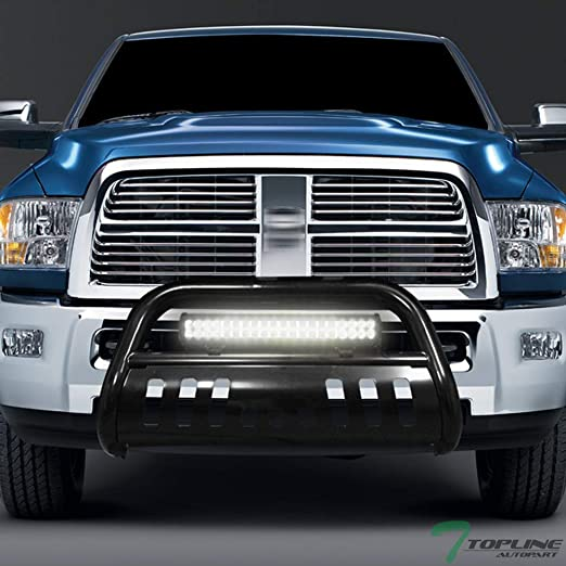 Topline Autopart Matte Black AVT Style Aluminum LED Light Bull Bar Brush Push Front Bumper Grill Grille Guard With Skid Plate For 04-12 Chevy Colorado//GMC Canyon