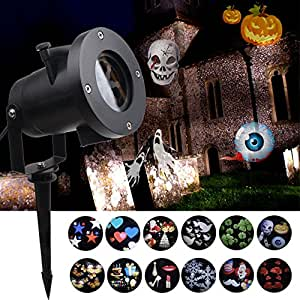 KOOT Halloween Light Projector,12 Pattern Outdoor Holiday Spotlight Waterproof Landscape LED Light for Decoration Lighting on Halloween Christmas Holiday Birthday Wedding Party