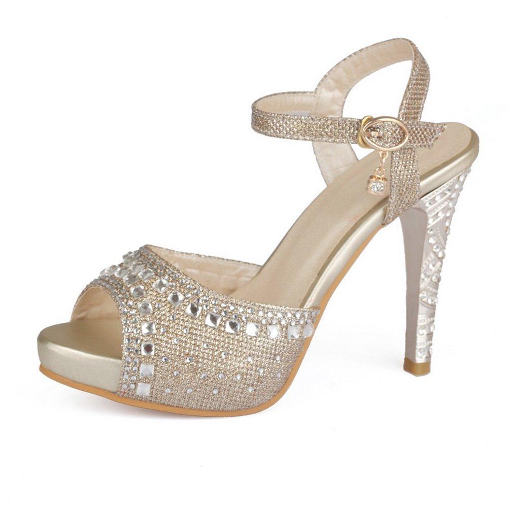 BalaMasa Girls Sequins High-Heels Gold Soft Material Sandals - 4 B(M) US