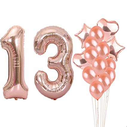 13th Birthday Decorations Party Supplies13th Balloons Rose GoldNumber 13 Mylar Balloon