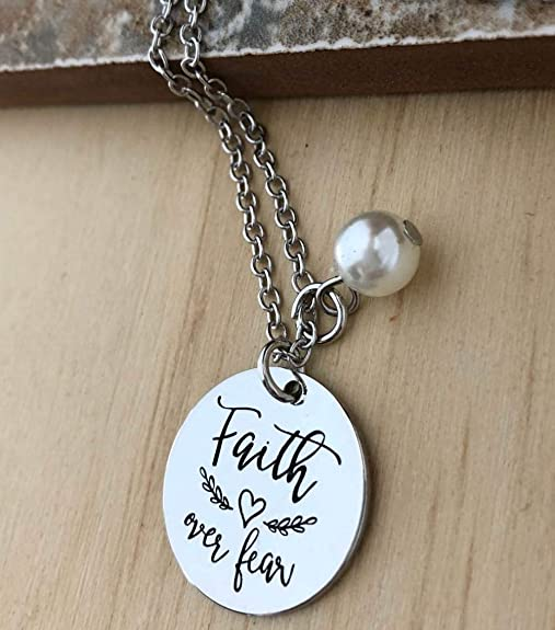 Extender Faith necklace Stainless Saying Charm FAITH over FEAR NECKLACE Stainless Clasp courage jewelry Mirror Denim Crystals