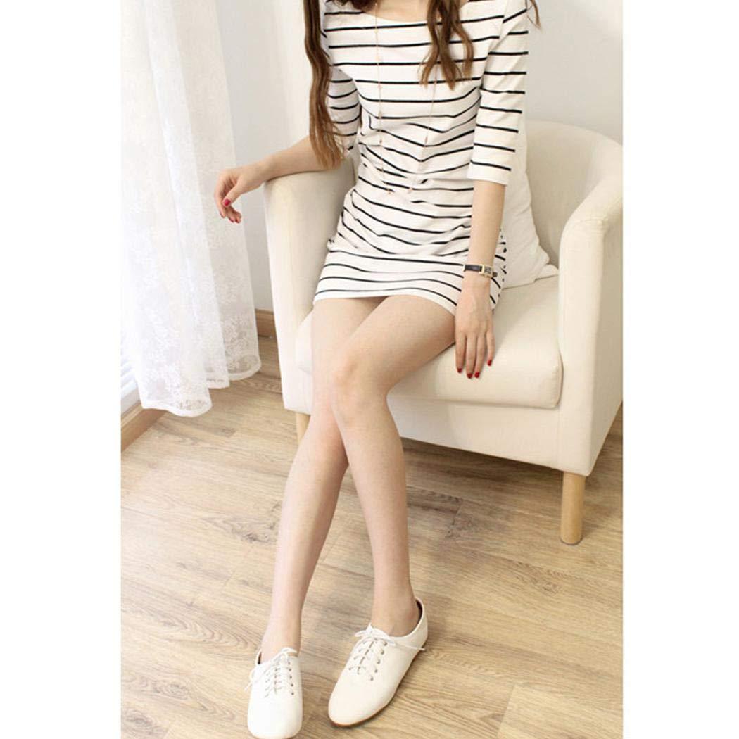 XioNiu Women Summer Half Sleeve Casual Half Sleeve Striped Slim Dress Dresses White