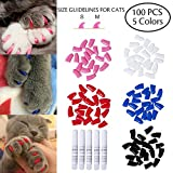 100 PCS Soft Pet Cat Nail Paws Claws Caps Cats Paws Nail Covers of 5 Kinds Different Colors and 5PCS Adhesive Glues with Instructions