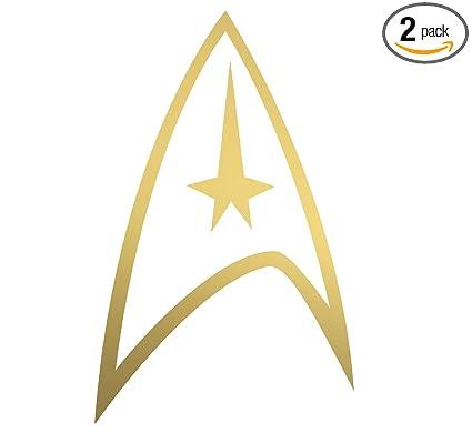 amazon com angdest star trek logo gold metallic set of 2 vinyl