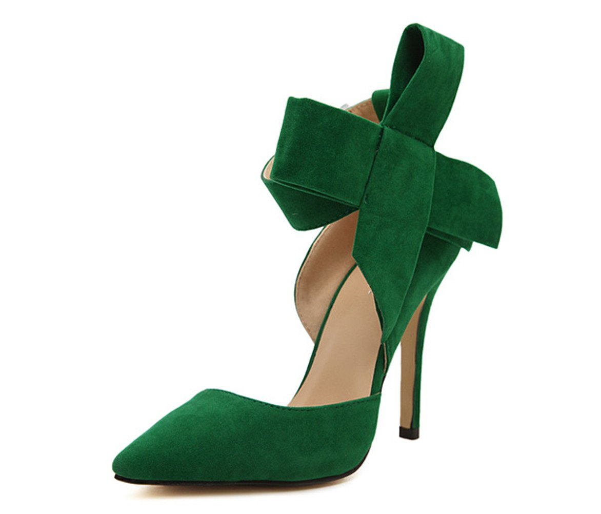 Z&L Women's Pointy Toe Suede High Heel Stiletto Pumps with Big Bowknot Green US 8.5