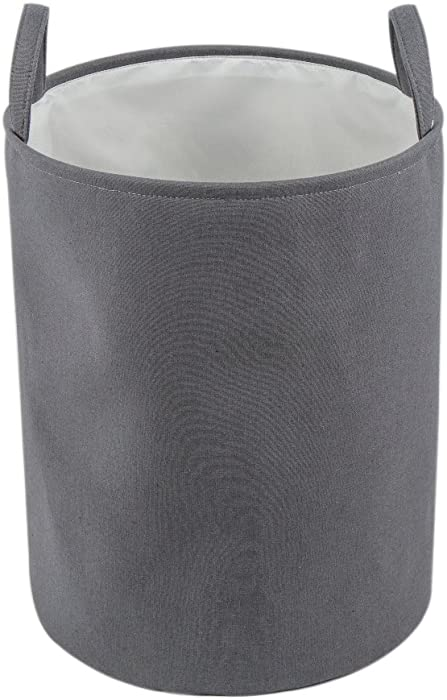 "Every Deco Round Cylinder Wire Metal Frame Dual Fabric Laundry Basket Hamper Bin Storage Collapsible Fold-able Organization Toys Clothes - 17.7"" H/Medium - Grey"