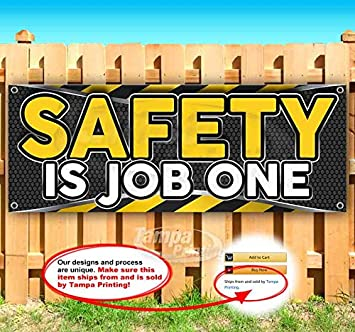 Many Sizes Available Flag, New Store Safety is Job ONE 13 oz Heavy Duty Vinyl Banner Sign with Metal Grommets Advertising