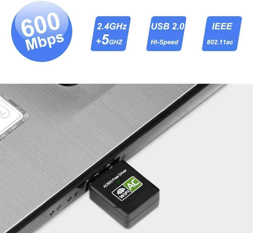 PROKTH Wireless WiFi Adapter 600M AC Dual-Band WiFi Adapter 2.4G+5G Built-in PCB Antenna USB Wireless WiFi Receiver Free Drive for Windows XP//Vista WIN7 Mac 10.4-10.11 8//8.1