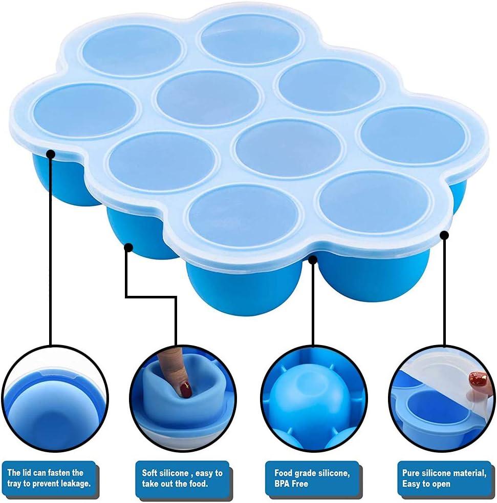 WENTS Recipientes Molde para Comida de Beb/é con Tapa Envase de silicona para congelar alimentos y papillas ideal tama/ño de la Porci/ón azul 10 x 75 ml Recipiente para comida de beb/é