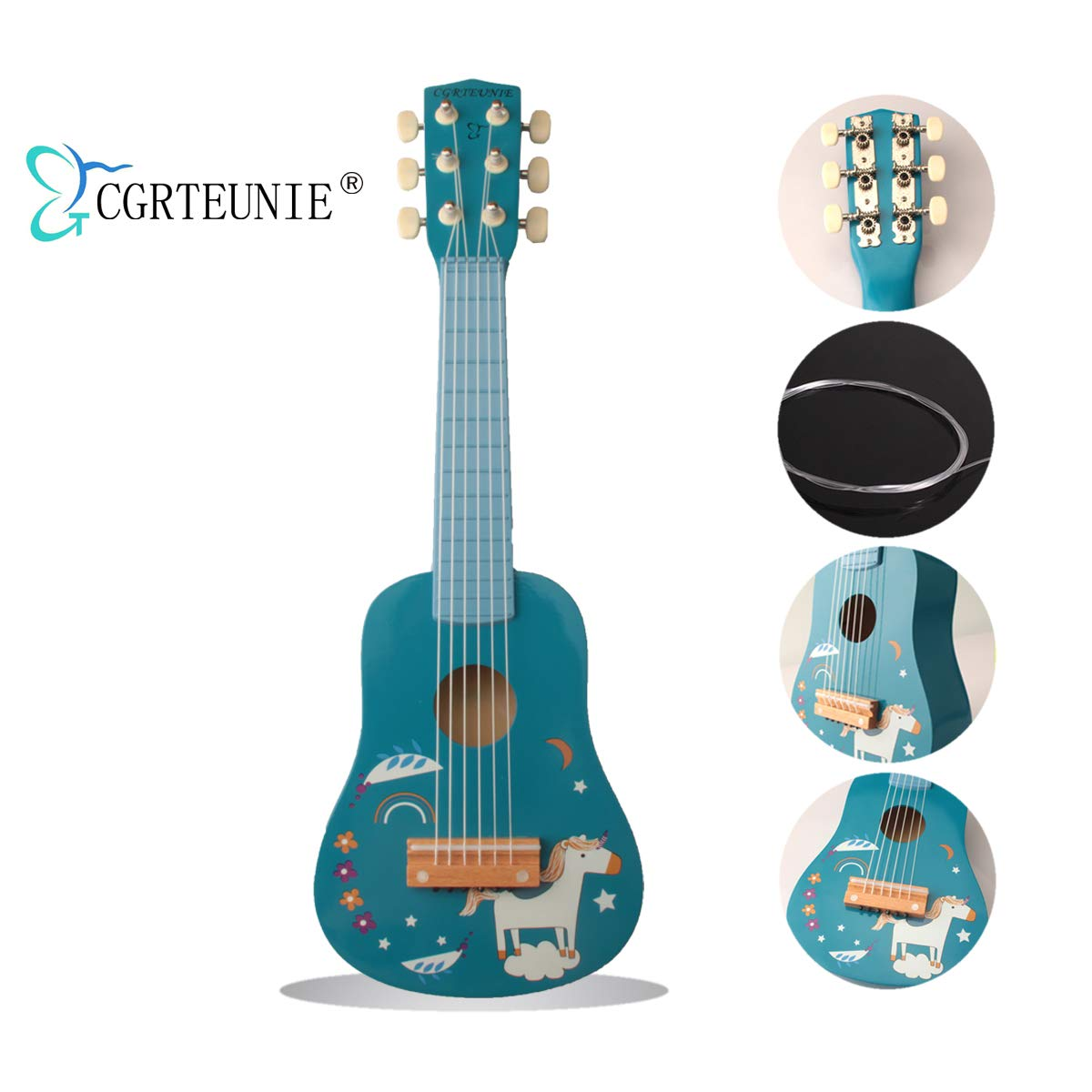 CGRTEUNIE Classical Acoustic 6 String 21 Inch Handmade Wooden Guitar Ukulele Rhyme Developmental Musical Instrument Educational Toy for Toddlers Children Beginner Fingering Practice